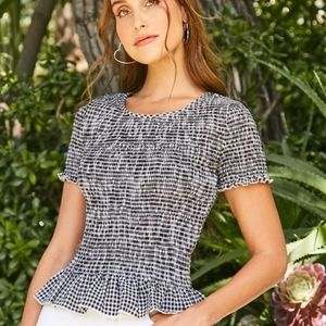 Gingham Shirred Top